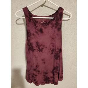 American Eagle Outfitters Tops - American Eagle Maroon Tie Dye Muscle Tank